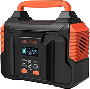 300W Portable Power Station, OMORC Pure Sine Wave Camping Generator, 60000mAh Portable Power Supply with 45W PD/QC3.0/2(350W MAX )AC/2 DC/2 USB Outputs, Solar Lithium Emergency Backup Power for CPAP
