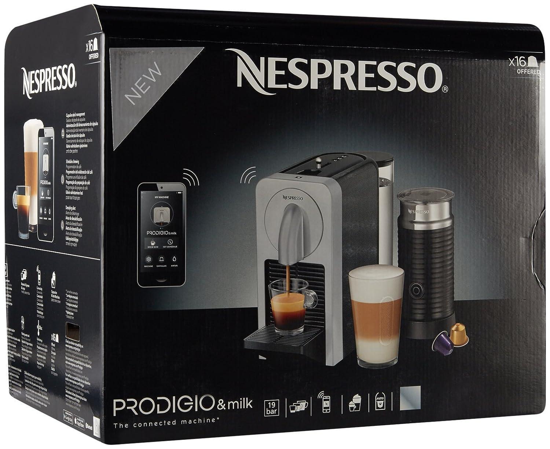 Nespresso prodigio y espumador de leche - Cafetera de espresso con ...