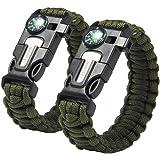 Bcony Survival Überleben Paracord Armband mit Kompass Feuerstarter Schaber Messer Pfeife Whistle