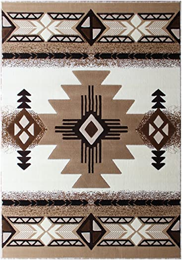 South West Native American Area Rug Design C318 Ivory 5 Feet X 7 Feet
