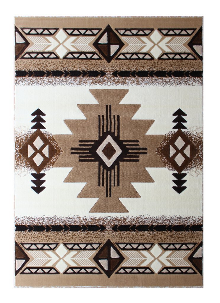 South West Native American Area Rug Design C318 Ivory (8 Feet X 10 Feet)