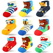 9 Packs Baby Boys Newborn Infant Socks, Ankle Socks Cotton with Grips (9 Pairs, 6-12 Months)