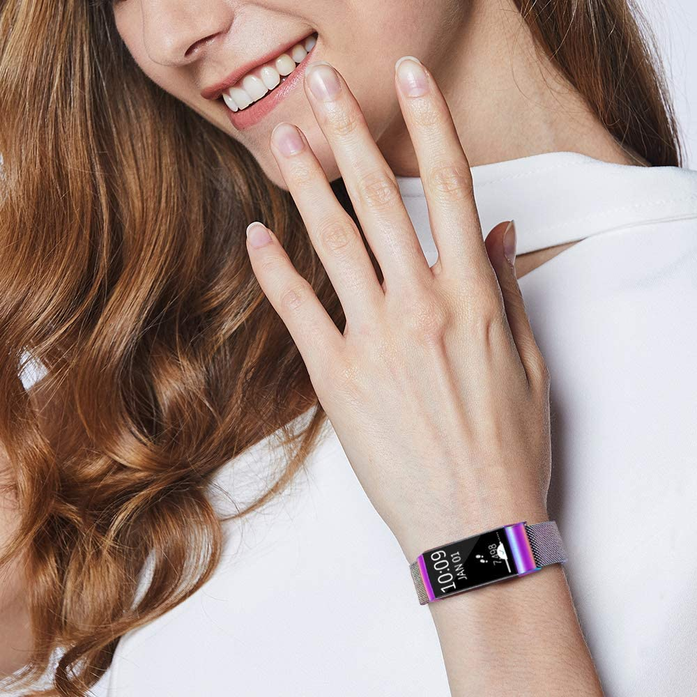 Charge 3 SE Bands Pack 2 Metal Loop Bands Compatible with Fitbit ...