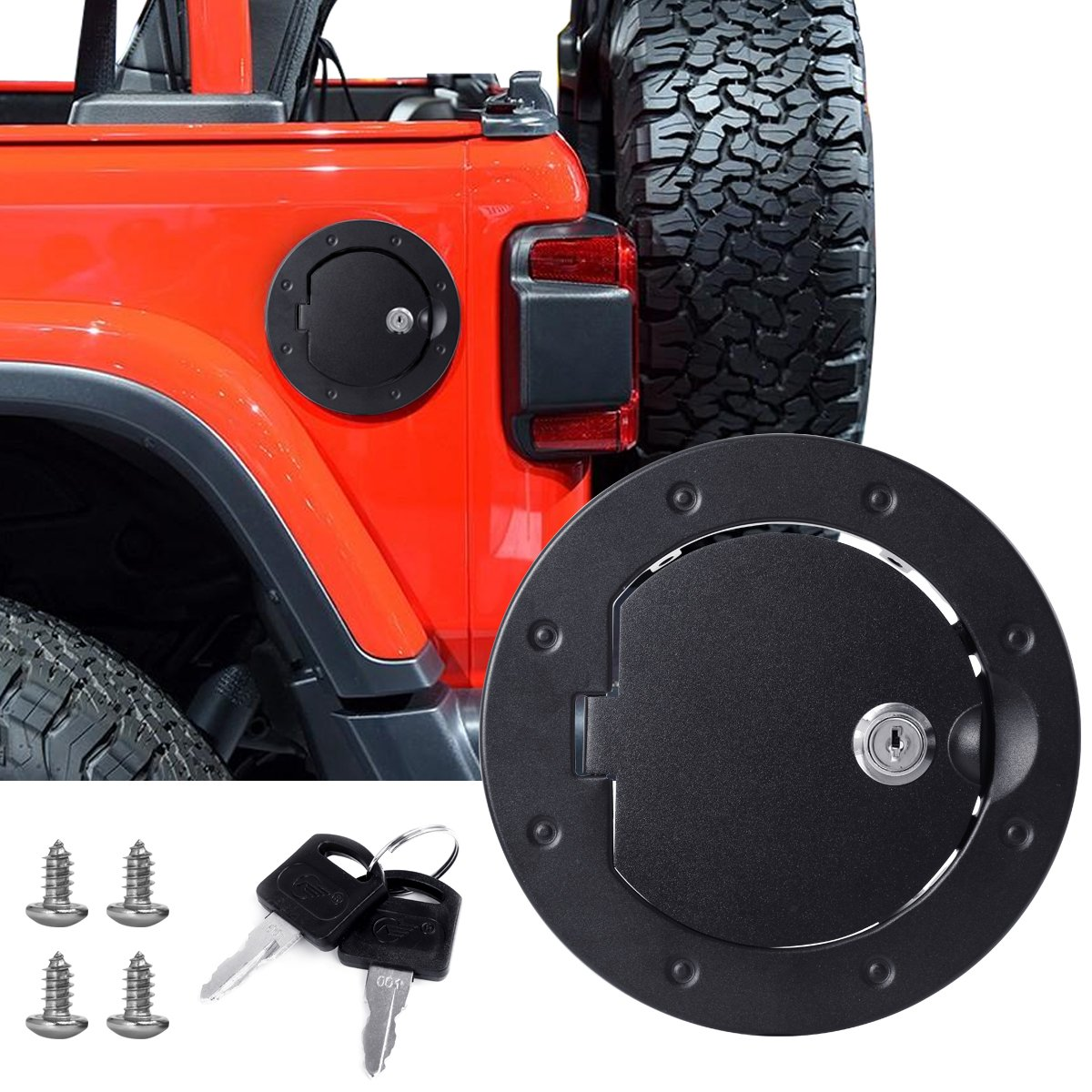 Filler Door Fuel Cover Gas Cap ABS /& Metal  For Jeep Wrangler Unlimited JK 07-17