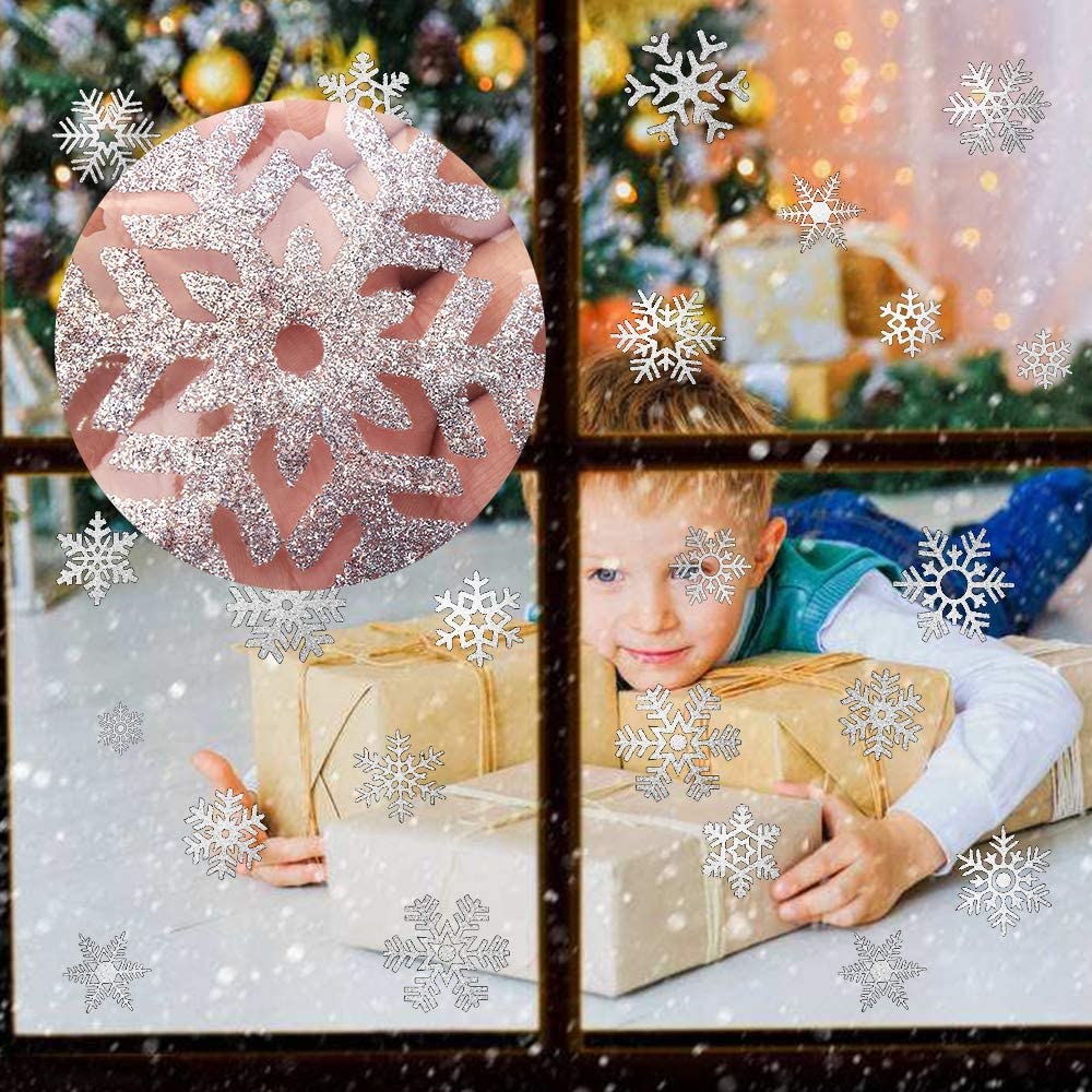 60x45cm CLEAR CHRISTMAS SNOWFLAKES GLASS WINDOW STICKERS CLINGS XMAS DECOR