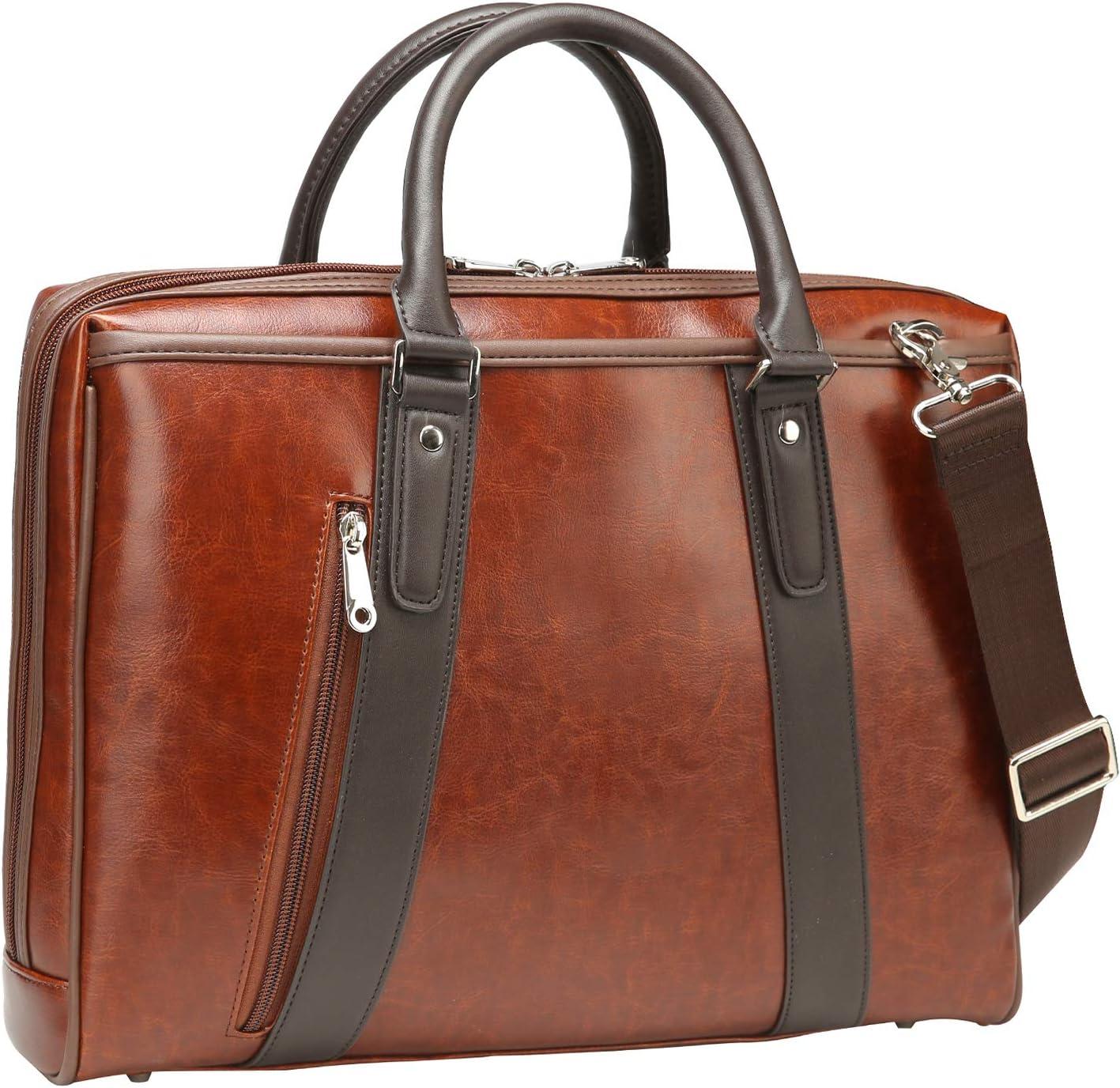 Ronts Brown PU Leather Laptop Briefcase for Men Women Business Messenger Bag Shoulder Handbag Office Work Tote Attache Case