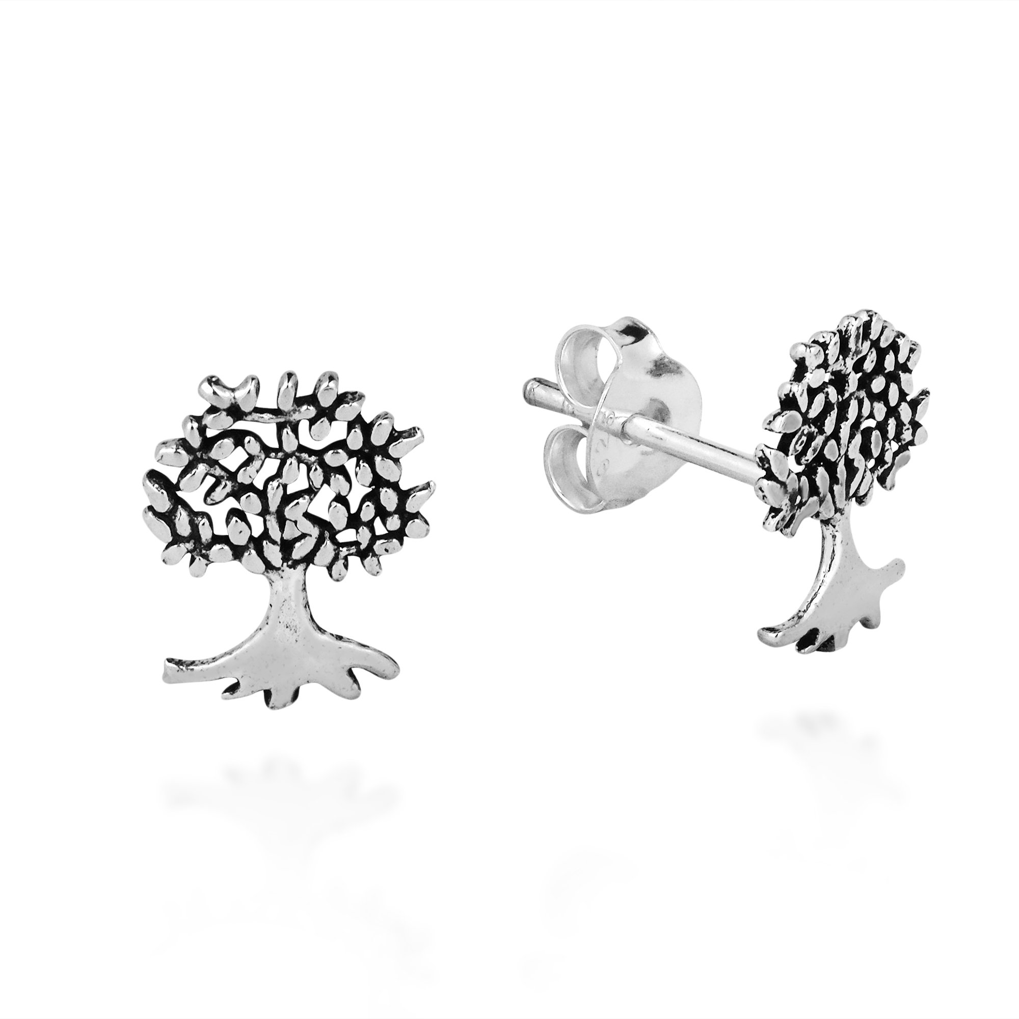 Mini Summer Love Tree Of Life .925 Sterling Silver Post Earrings