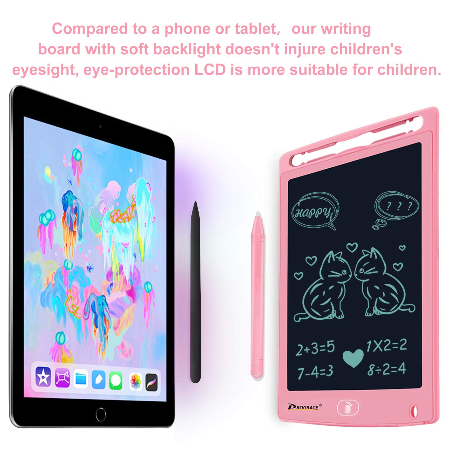 PROGRACE LCD Writing Tablet for Kids Learning Writing Board Magnetic Erase LCD Writing Pad Smart Doodle Drawing Board for Home School Office Portable Electronic Digital Handwriting Pad 8.5'' by PROGRACE (Image #3)