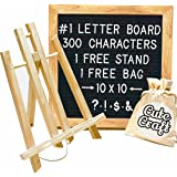 Felt Letter Board with FREE 300 Letters, Oak Stand, & Travel Bag. Square 10X10 Inches Sign with Changeable Messages & Characters for Your Restaurant, Office or Home!