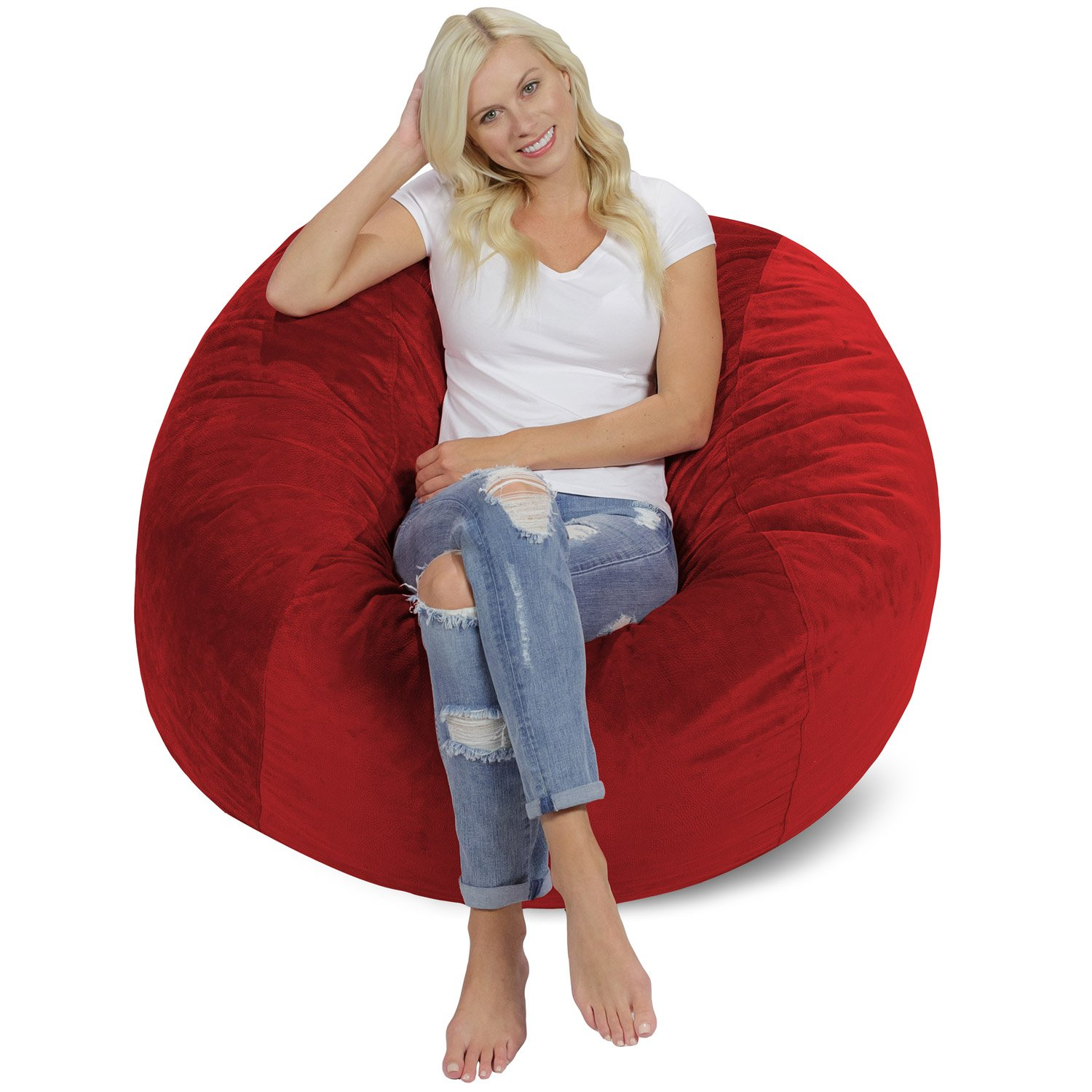 Chill Sack Bean Bag Chair: Giant 4' Memory Foam Furniture Bean Bag - Big Sofa with Soft Micro Fiber Cover - Red Pebble by Chill Sack