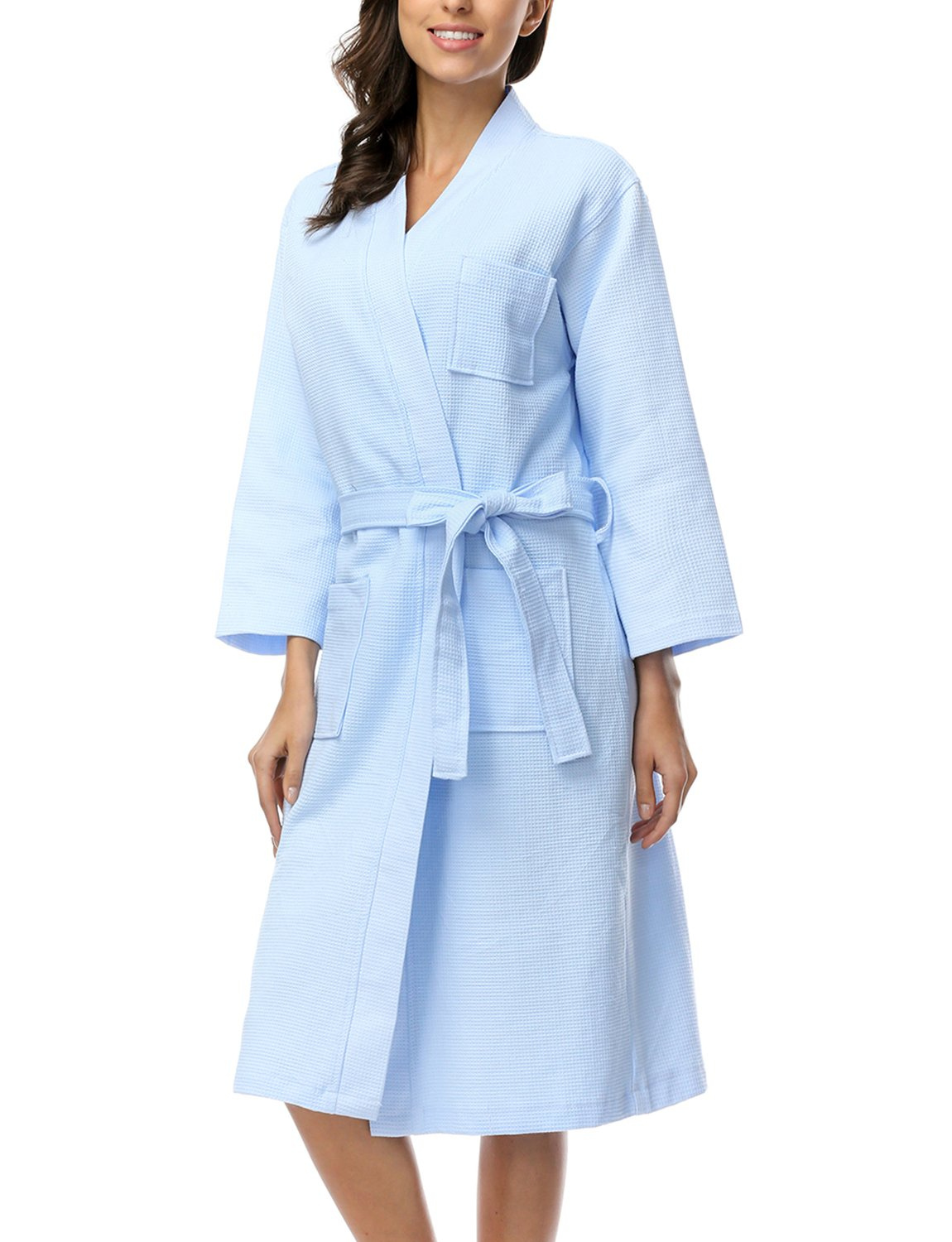 BELLOO Women Cotton Waffle Bathrobe Light Weight Dressing Gown