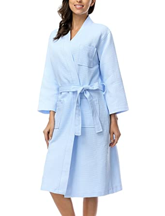 ff677ca89 Womens Ladies Summer Loose Dressing Gown Waffle Bath Robes, Blue S