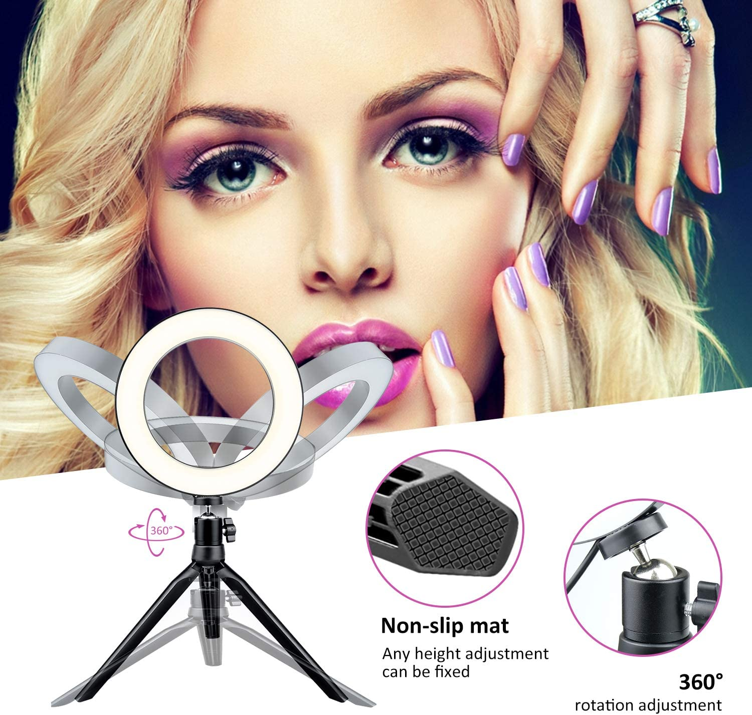 Dimmable Desk Make up Ring Light for Photography AOBISI LED Ring ...