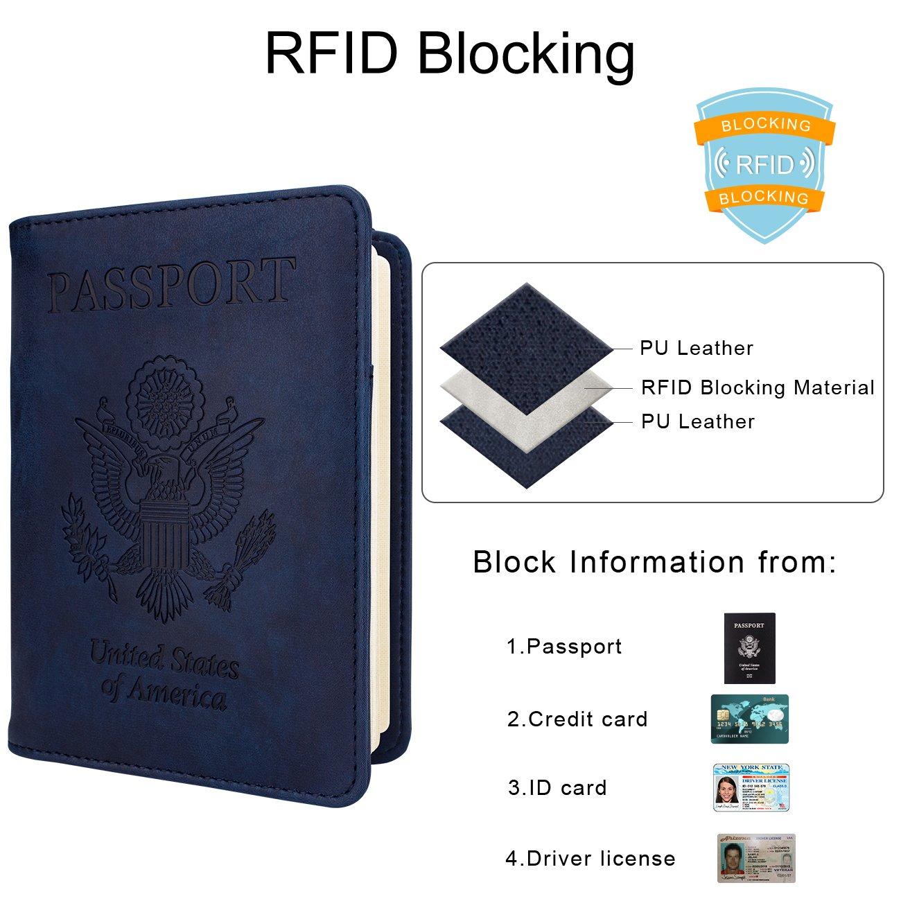 WALNEW - RFID para pasaporte Funda de viaje funda de pasaporte, Azul ...