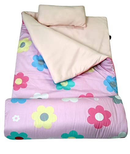hot sale online a80c4 c946c SoHo Kids Flowers Children Sleeping Slumber Bag with Pillow and Carrying  case Lightweight Foldable for Sleep Over