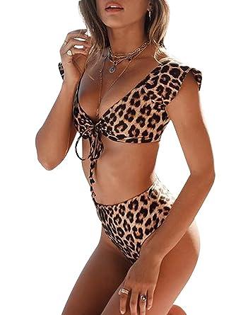 cdee85cbe1357 SFHFY Women s Leopard Print Tie Front Swimsuit 2-Piece High Waist Bikini  Set Bathing Suit