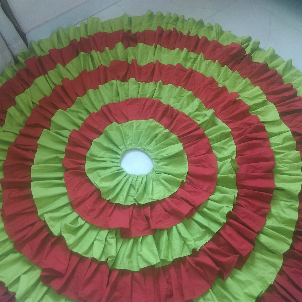 GREEN RED Cotton Ruffled Tree Skirt in Any Size - Tie Strap or detachable Enclosure