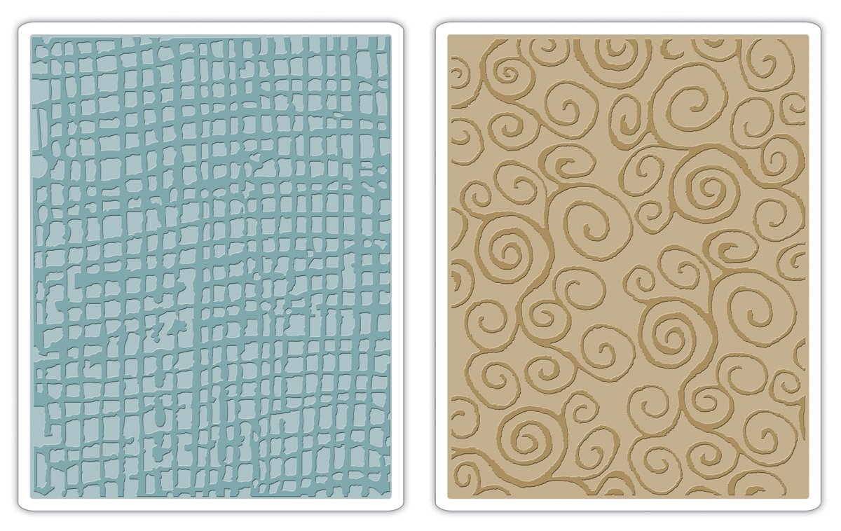 Sizzix Texture Fades Embossing Folder Burlap and Swirls Set (8 Pack)