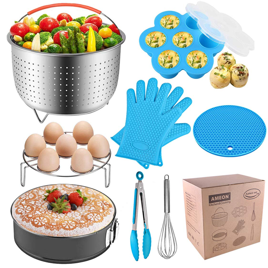 AMEON Accessories for Instant Pot 6, 8 Quart - Steamer Basket, Egg Rack, Springform Pan, Egg Bites Mold, Egg Beater, Pot Mitts, Silicone Mat and Food Tong for Insta Pot, Pressure Cooker, Rice Cooker by AMEON (Image #1)