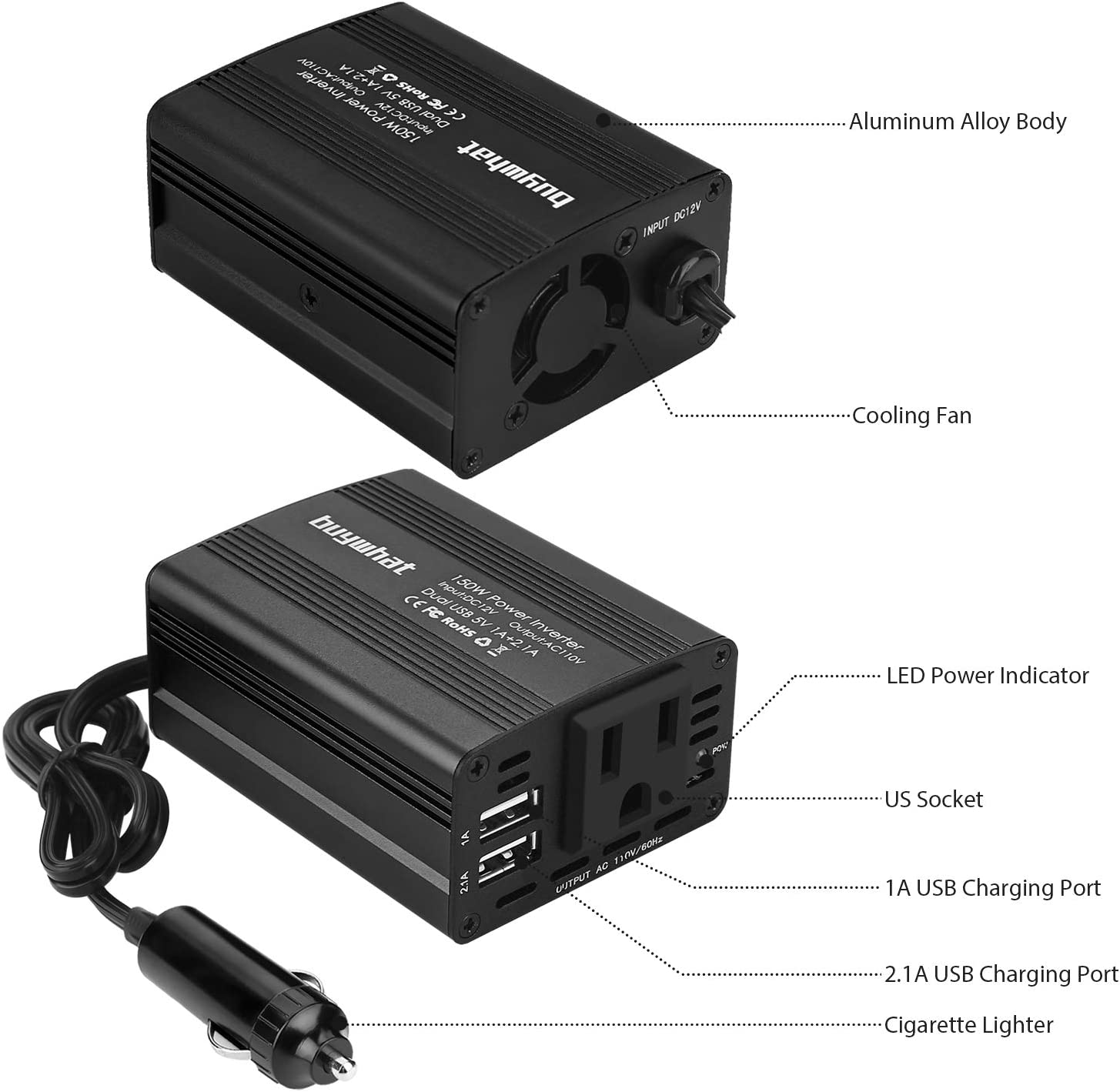 Buywhat 150W Power Inverter DC 12V to 110V AC Converter Car Plug Adapter Outlet Charger for Laptop Computer