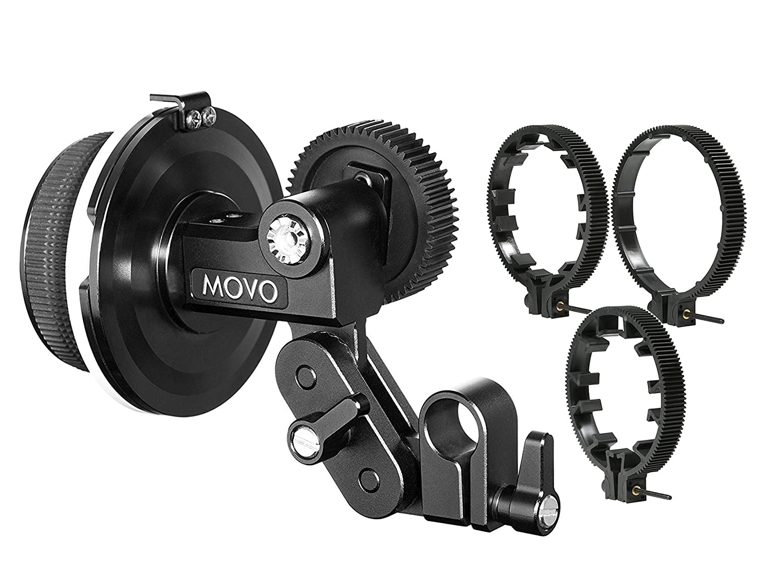 Movo F1X Precision Follow Focus System with 66mm, 77mm & 88mm Adjustable Gear Rings