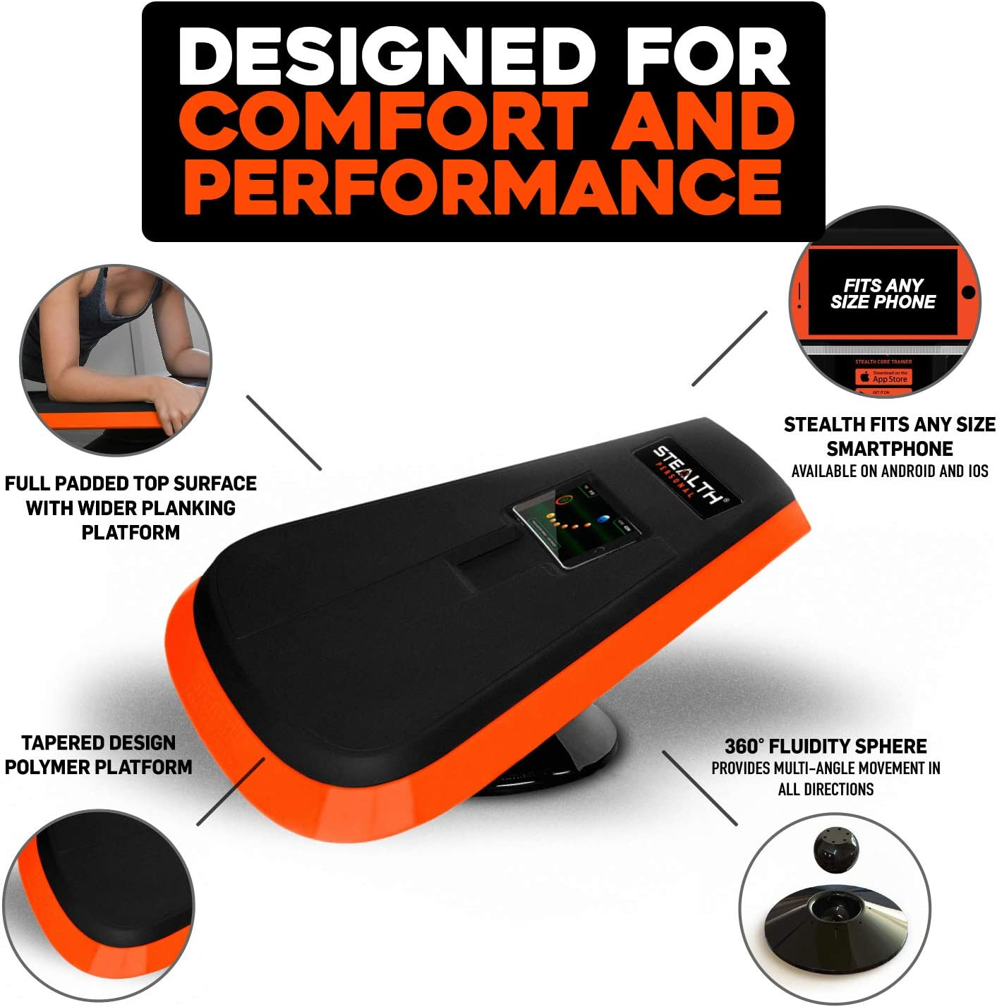 Stealth Core Trainer - Dynamic Core & Full Body Workout While Playing Games; Free iOS/Android Mobile Games App; Patented 360 Degree Planking Motion; Build Muscle & Lose Body Fat in 3 Min/Day (Orange) : Sports & Outdoors