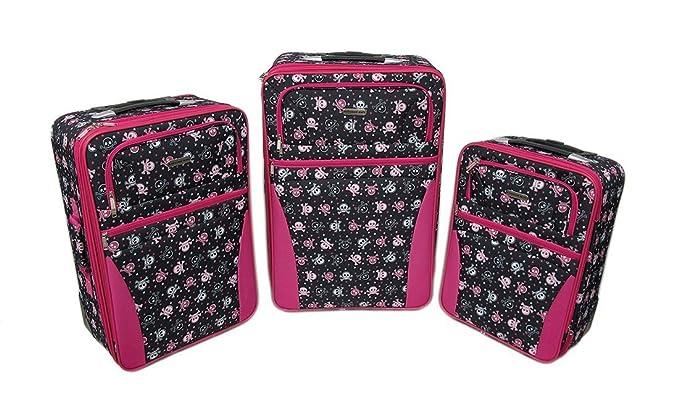 Amazon.com | Nylon Womens Luggage Sets 3 Piece Black/White/Pink ...