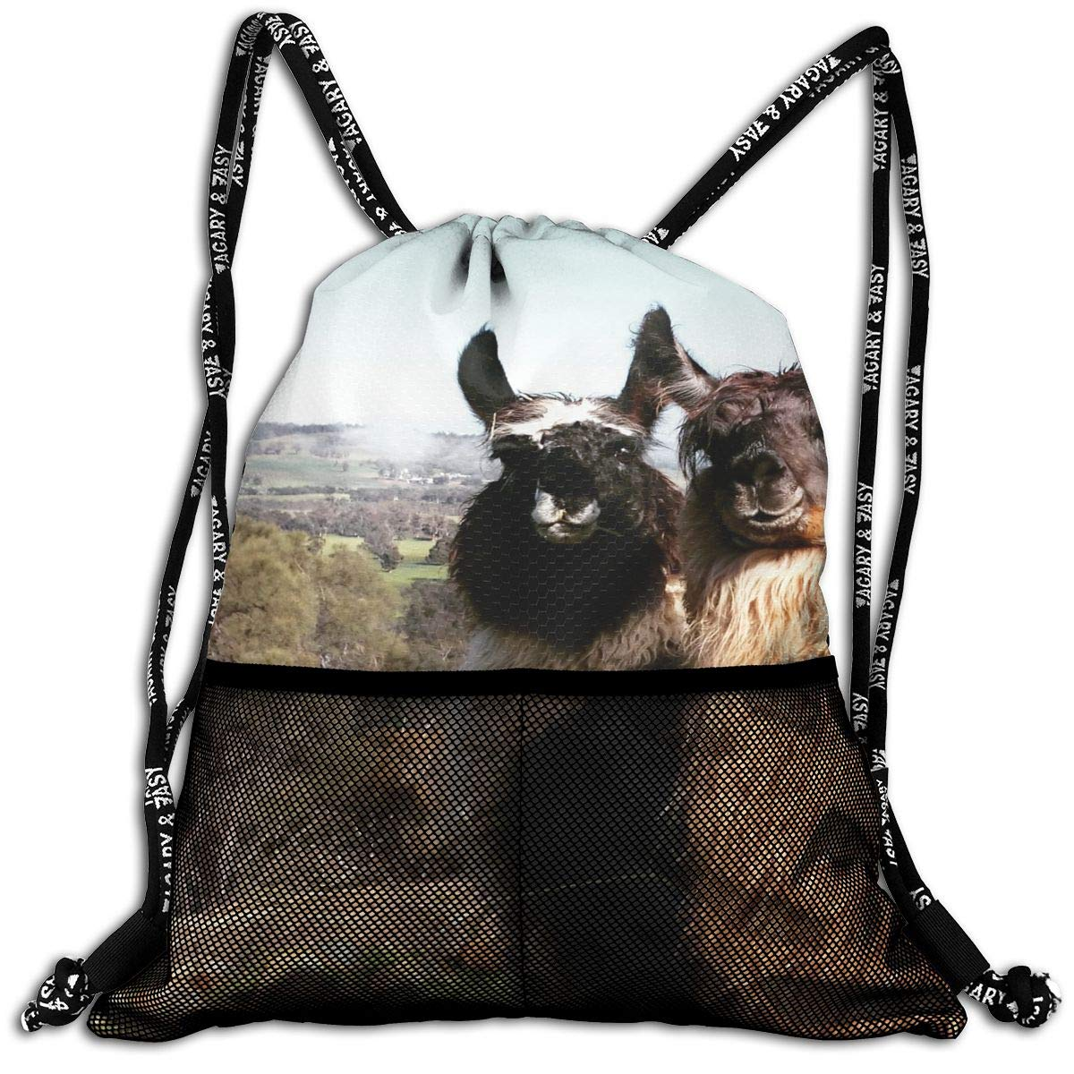 VRLGWDHD Two Llamas Unisex Full All Over Print Sport Gym Drawstring Bags Accessories Bag with Straps for Gift with Convenient Front Pockets