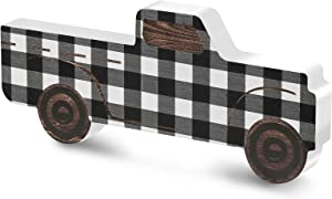 Rustic Wooden Pickup Truck, Black and White Plaid Wooden Pickup Truck Ornament, Wooden Pickup Truck Sign Decor for Window Shelf Desk and Home Decor
