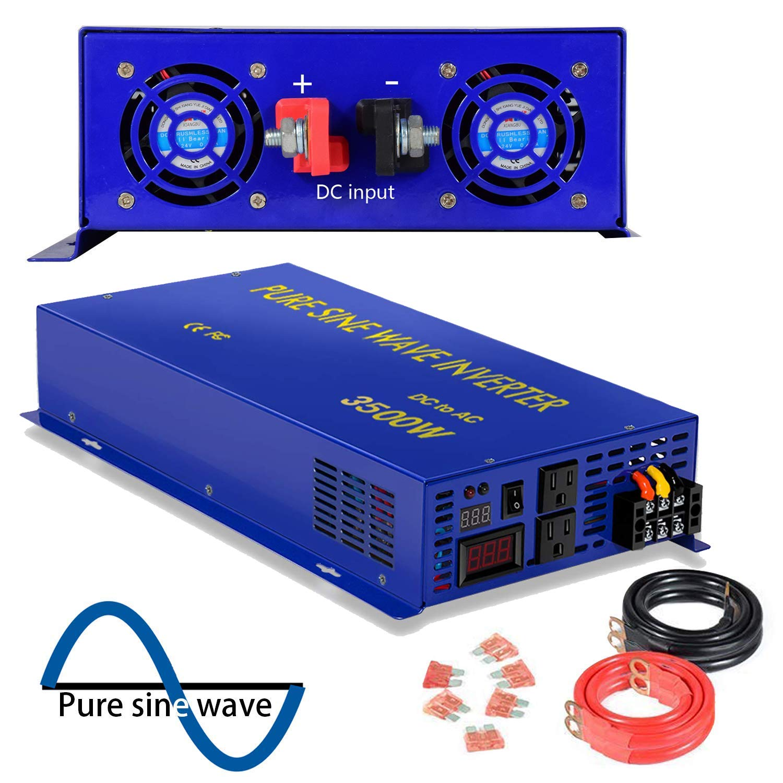 XYZ INVT 4000 Watt Pure Sine Wave Inverter 12V DC to 120V AC, 4000W Power Invert Surge 8000W Power Converter for Solar System.(4000W 12V DC to 120V AC)