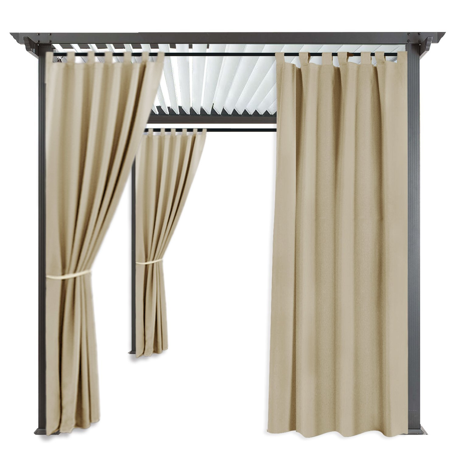 RYB HOME Pergola Outdoor Curtain Panel Drapes Blackout Curtains Outdoor Décor Tab Top Grommet Water Repellent for Patio, 1 Panel, Width 52'' x Height 84'', Cream Beige
