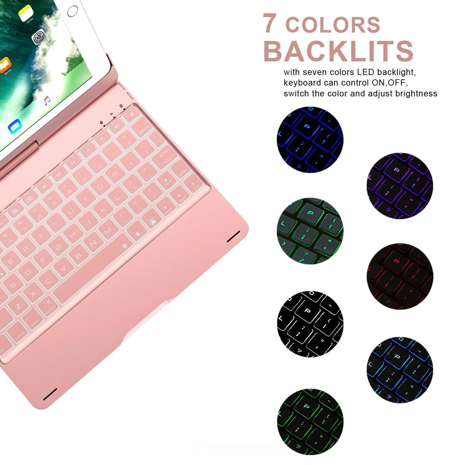 Amazon.com: Keyboard Case for ipad 10.5 inch, 7 Color Backlight ...
