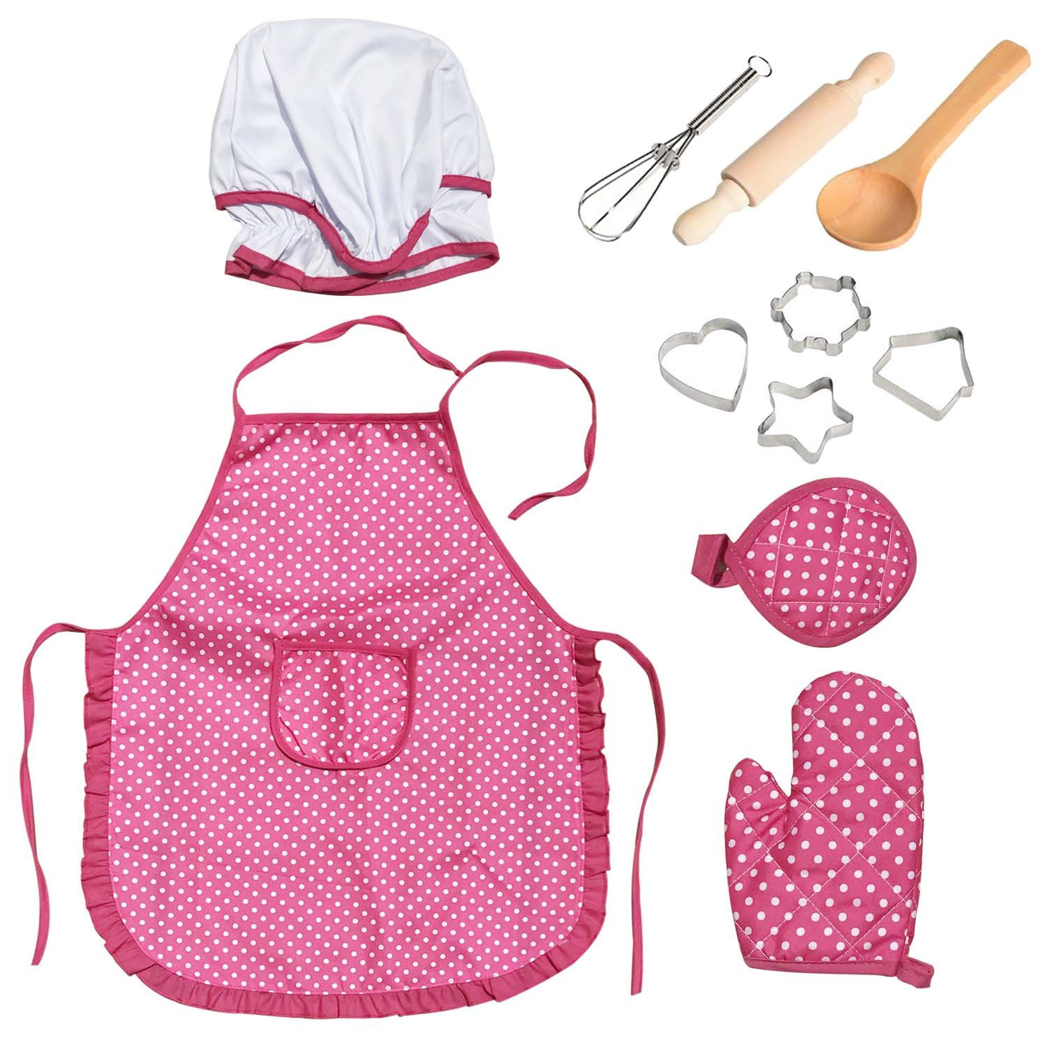 Anumit Kids Chef Set, Children Cooking Play Set, Girls Apron with Chef Hat, Cooking Mitt and Cookie Cutters for Toddler Career Role Play Children Pretend Play 11 Pcs Great Gift