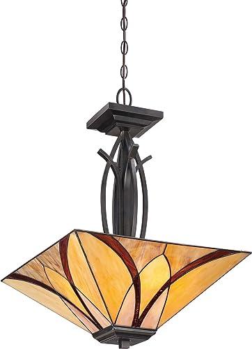 Quoizel TFAS2817VA Asheville Tiffany Glass Pendant Lighting, 3-Light, 300 Watts, Valiant Bronze 23 H x 17 W