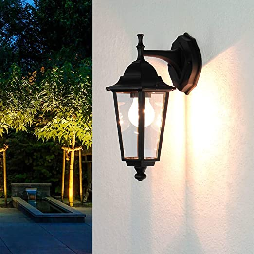 Aplique de pared para exterior Negro VELENCE 34cm IP43 Cristal Alu Rustikal Iluminación de caminos Jardín Balcón Casa Puerta: Amazon.es: Iluminación
