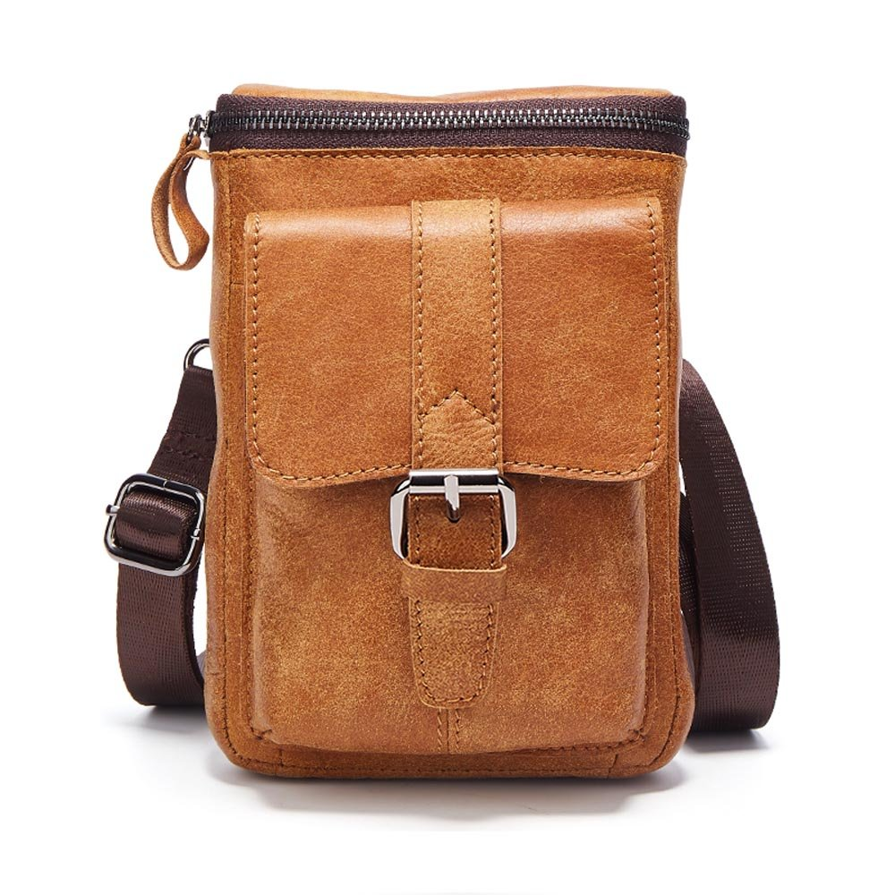Premium Cowhide Leather Belt Holster Fanny Small Messenger Bag Pack for iPhone 7 Plus 8 Plus iPhone Xs Max Holster Waist Bag Travel Shoulder Bag Crossbody Bag for iPhone 6 Plus Samsng LG Phones Brown by Yuzihan