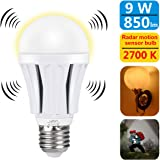 Motion Sensor Light Bulb 9W Smart Bulb Radar Dusk to Dawn LED Motion Sensor Light Bulbs E26 Base Indoor Sensor Night Lights Soft White 2700K Outdoor Motion Sensor Bulb Auto On/Off by Luxon