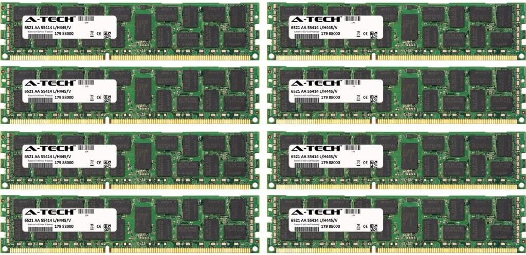 64GB KIT (8 x 8GB) for Dell Precision Workstation Series R5500 Rack T5600. DIMM DDR3 ECC Registered PC3-12800R 1600MHz Dual Rank Server Ram Memory. Genuine A-Tech Brand.