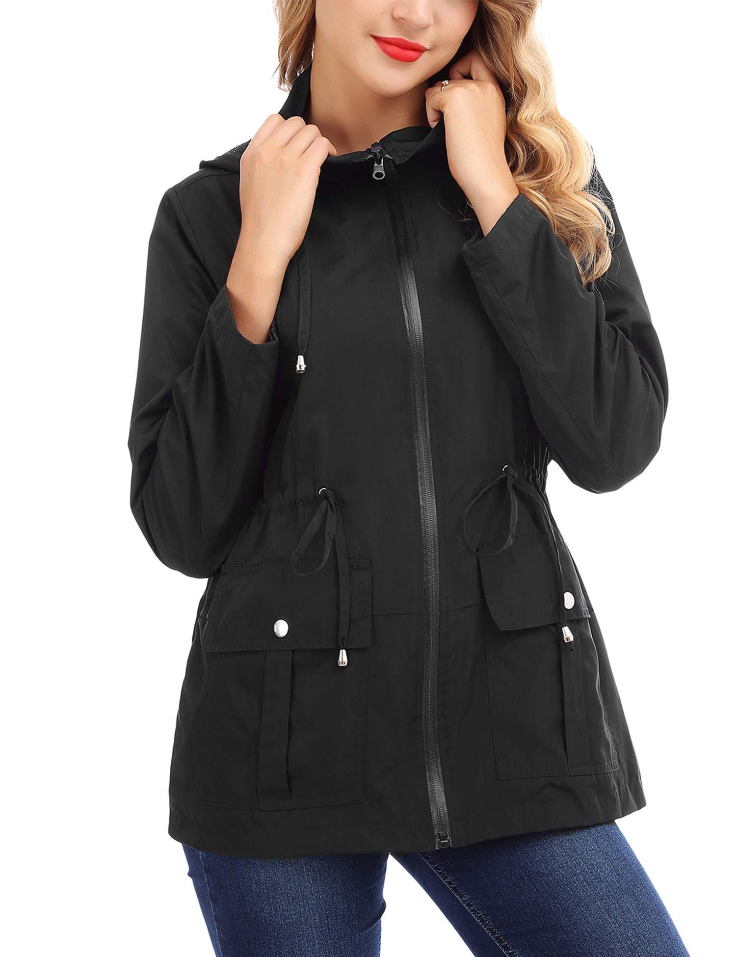 FISOUL Women Rain Jackets Waterproof with Hood Lightweight Raincoat with Pockets Outdoor Windbreake Black S