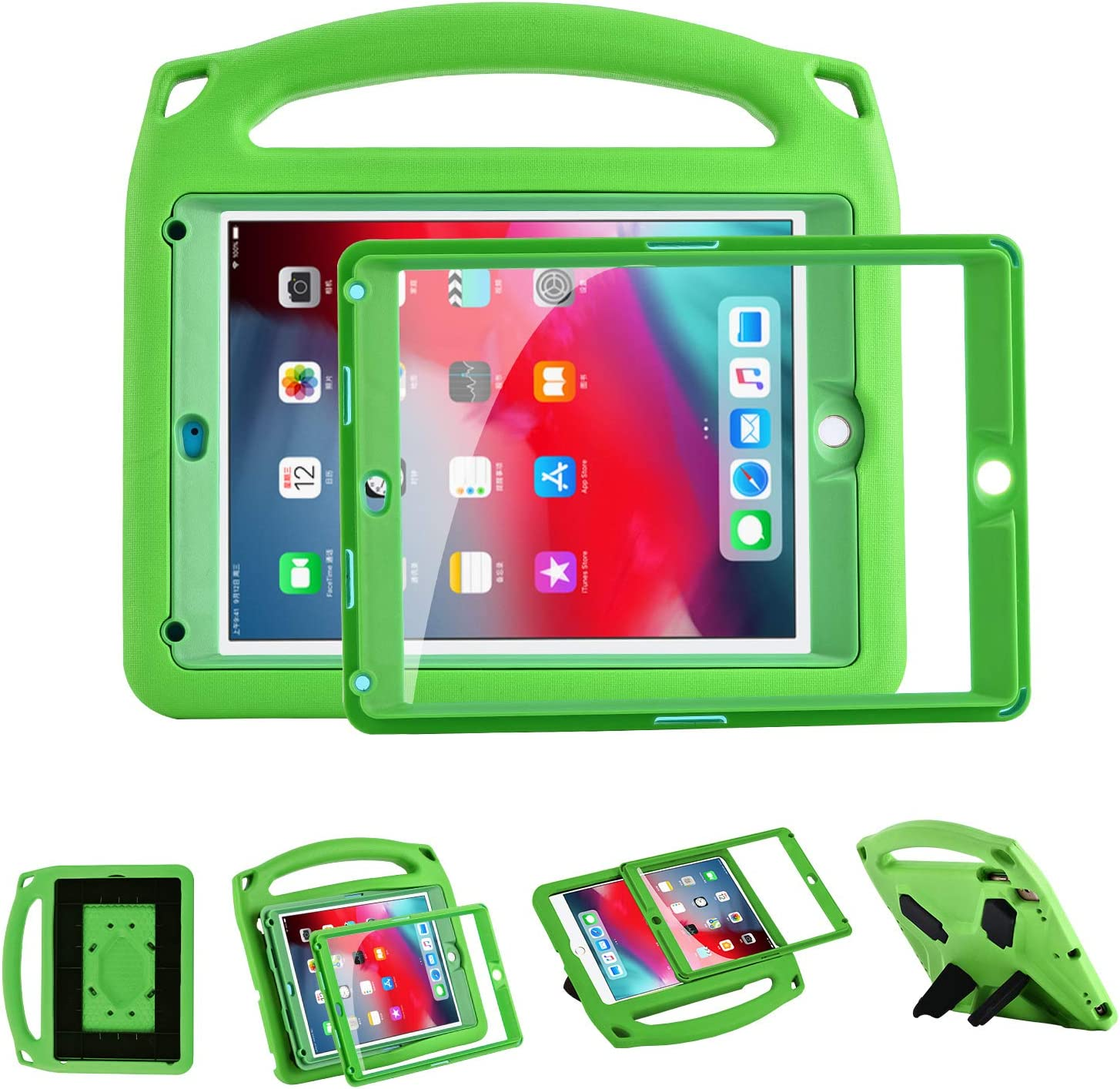 i-original Compatible with New iPad 9.7 Inch 2018/2017 EVA Shockproof Case for Kids Handle Cover, Multi-Angle Kickstand Light Weight EVA Protective Stand Bumper Cover with Screen Protector(Green)