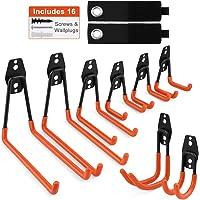 Garage Storage Utility Hooks, Mirviory 8 Pcs Heavy Duty Garage Storage Double Hooks for Organizing Power Tools, Ladders, Bikes, Ropes, Bulk items