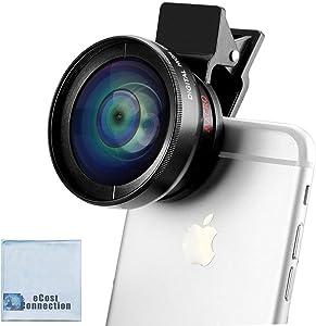 eCostConnection 2-in-1 Professional Universal Smartphone HD Camera Lens Kit (Super Wide Angle & Macro Lens) for iPhones 12 Pro Max Mini 8 7, 7 Plus, 6s, 6s Plus, SE, 6 Plus