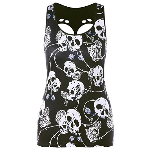 7cf7ec8fb58fa2 Amazon.com  Wintialy Women Plus Size Skull Print Hole Sleeveless Vest Tank  Blouse Pullover Tops Shirt  Clothing