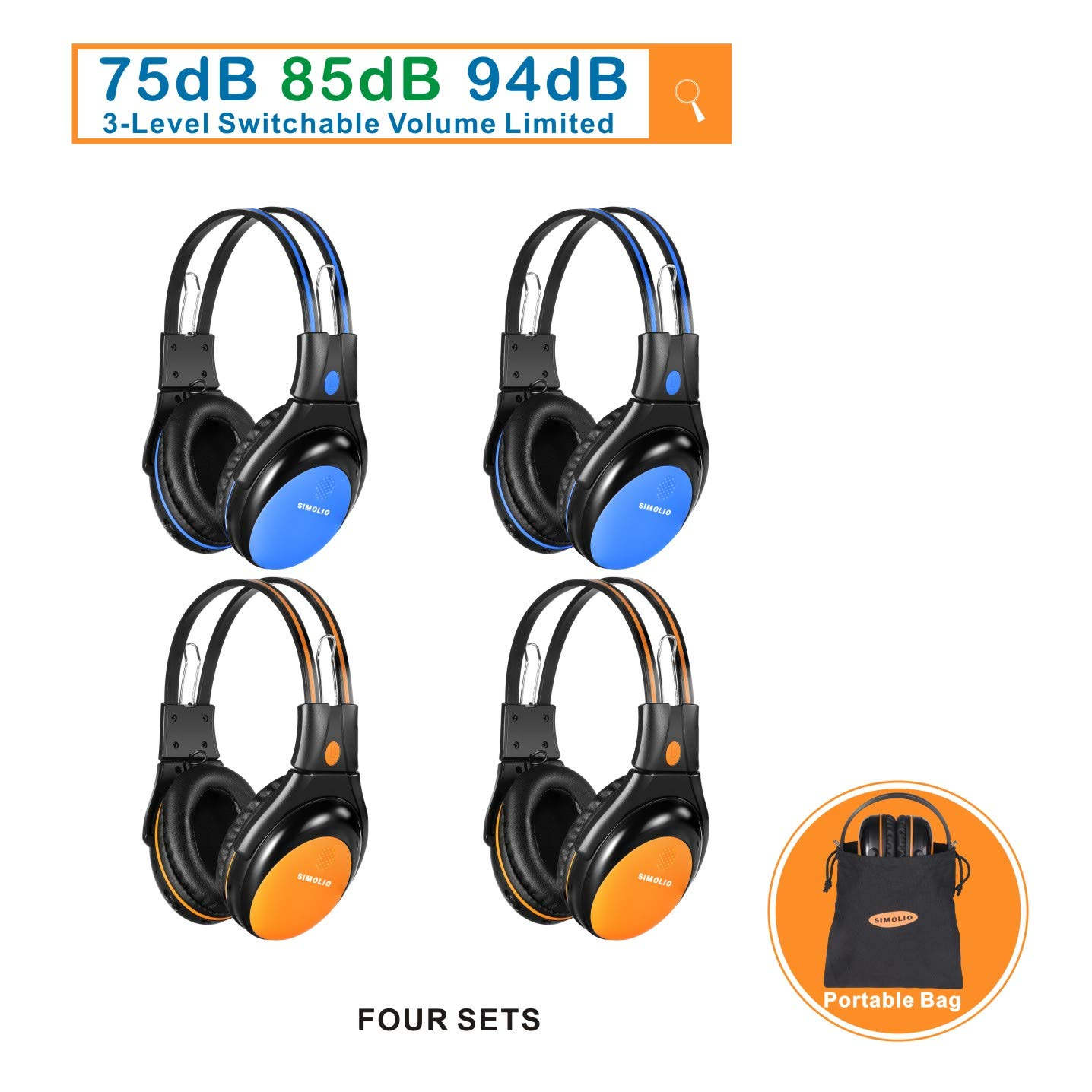 4 Pack of Car Kids Headphones with 3 Levels Volume Limited, Wireless DVD Headphones, 2 Channel IR Wireless Car Headphones, Infrared Wireless Headsets for Vehicle, Blue and Orange by SIMOLIO
