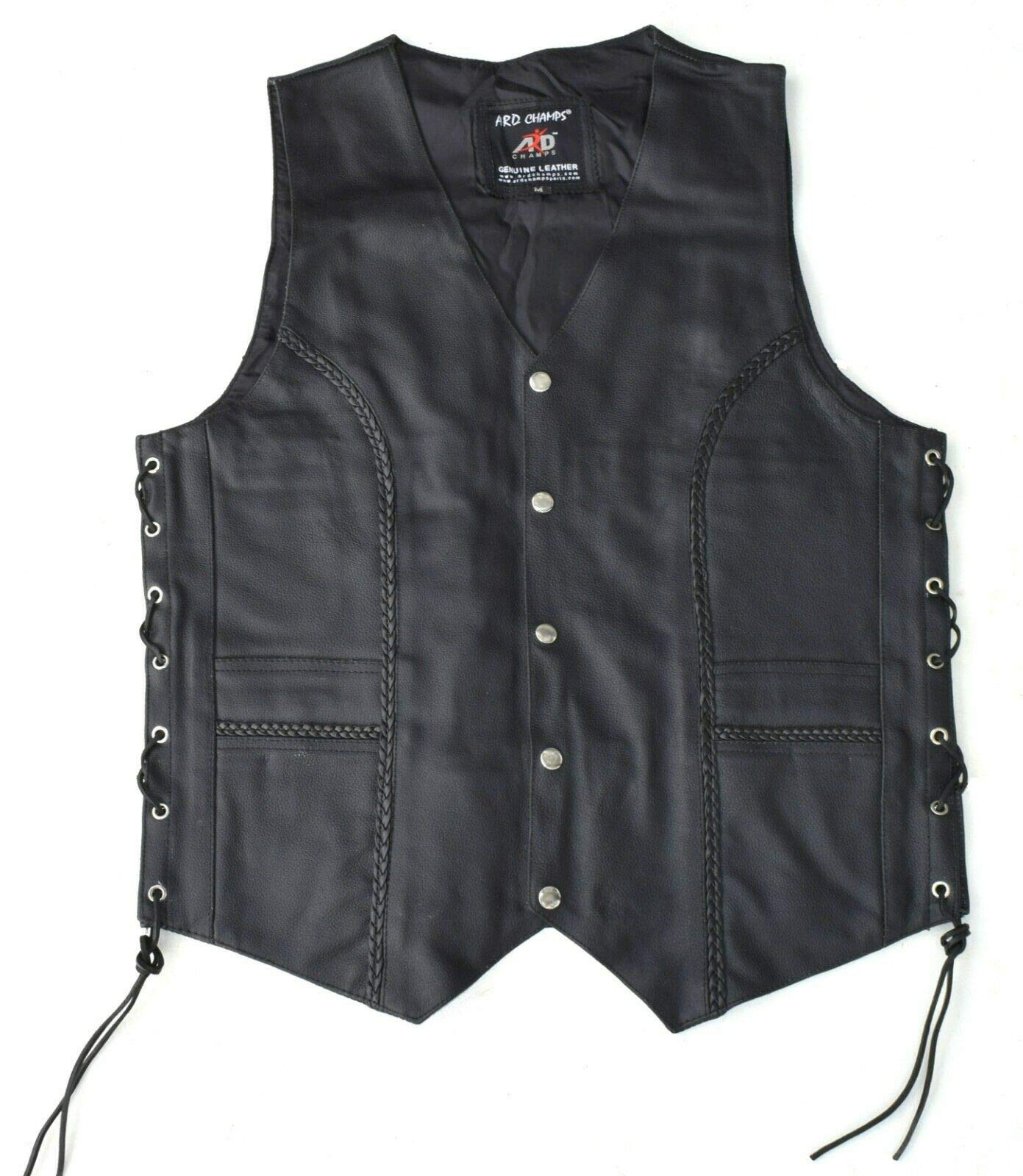ARD Premium Quality Mens Braided Side Lace Motorcycle Black Leather Vest S-6XL (5X-LARGE)