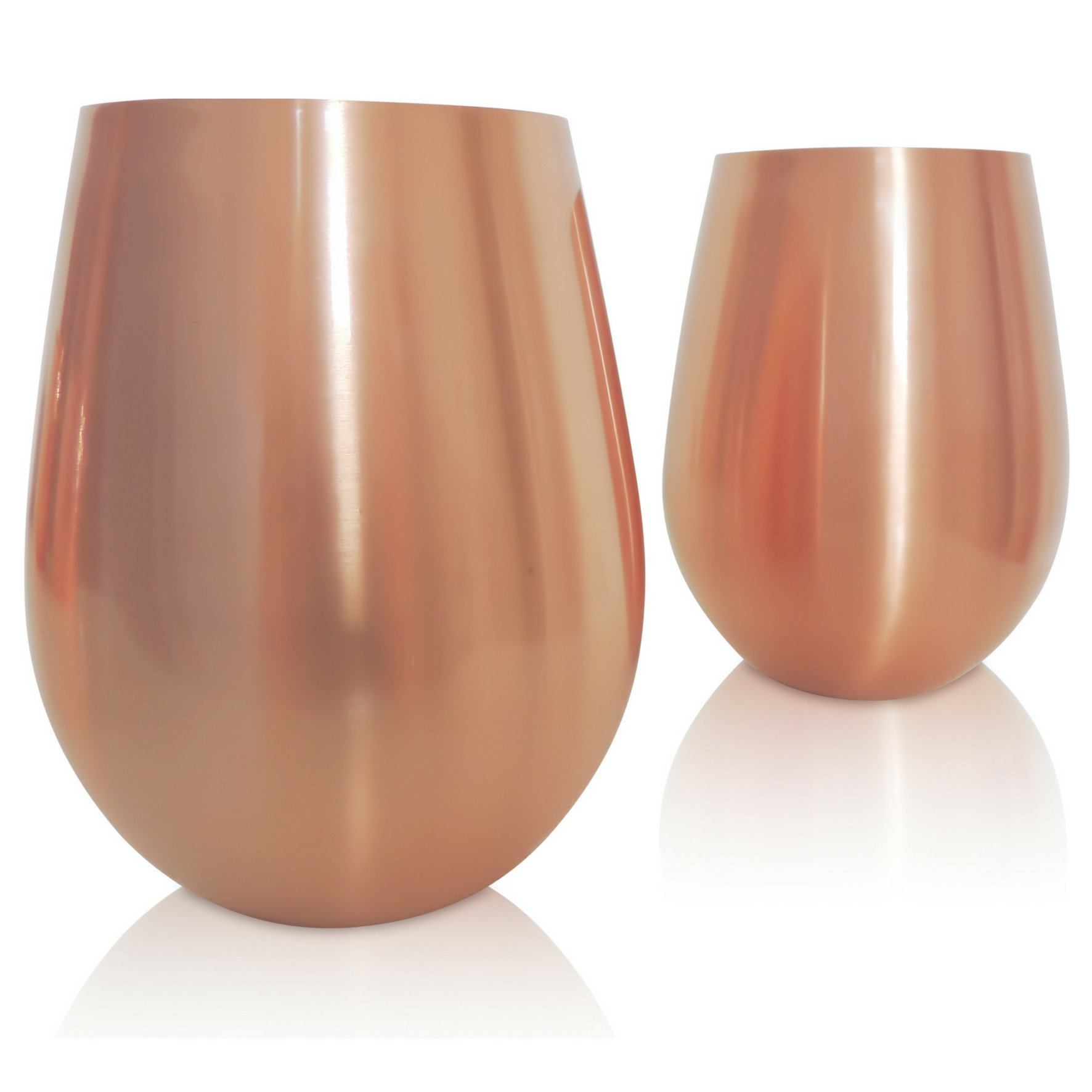 Stemless Copper Wine Glasses - Premium Set of 2 Stainless Steel - STRATFIELD HOME DESIGN - Sip your rosé in style
