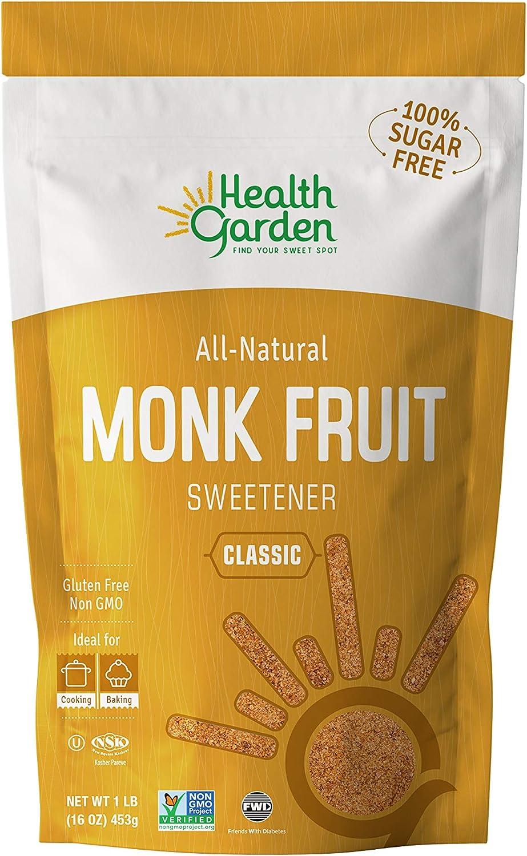 Health Garden Monk Fruit Sweetener, Classic- Non GMO - Gluten Free - Sugar Substitute - Kosher - Keto Friendly (1 lb)