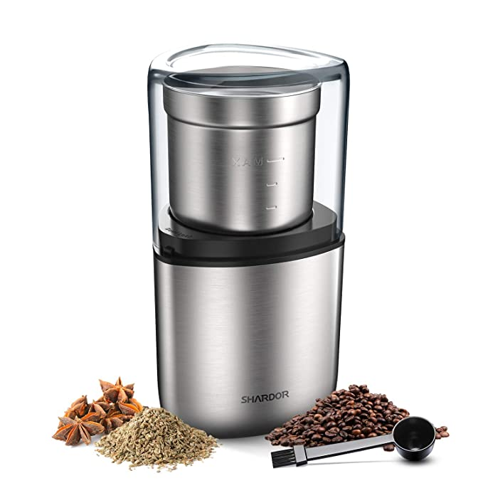 SHARDOR Electric Coffee Bean Grinder, Spice Grinder, 1 Removable Bowl with Stainless Steel Blade, Silver. …