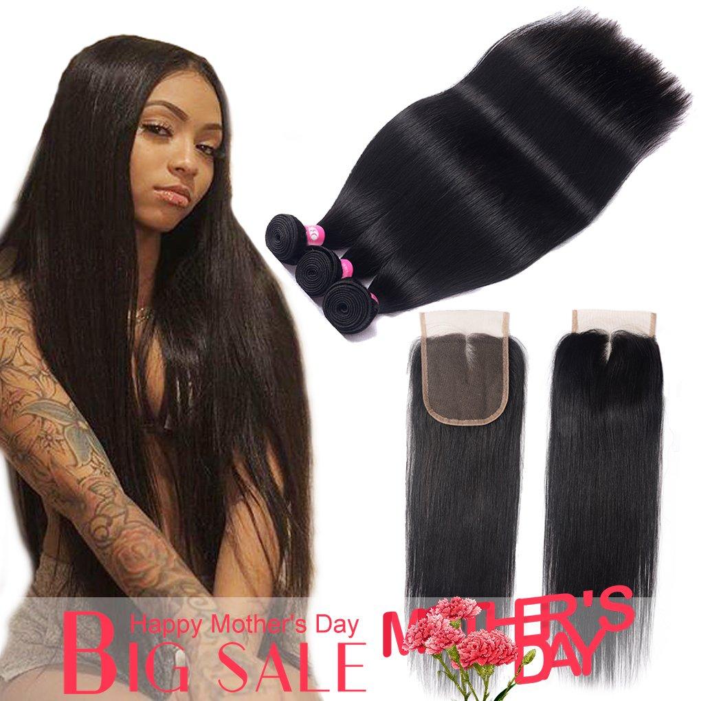 Amazon Brazilian Straight Hair With Closure 10a 100 Virgin