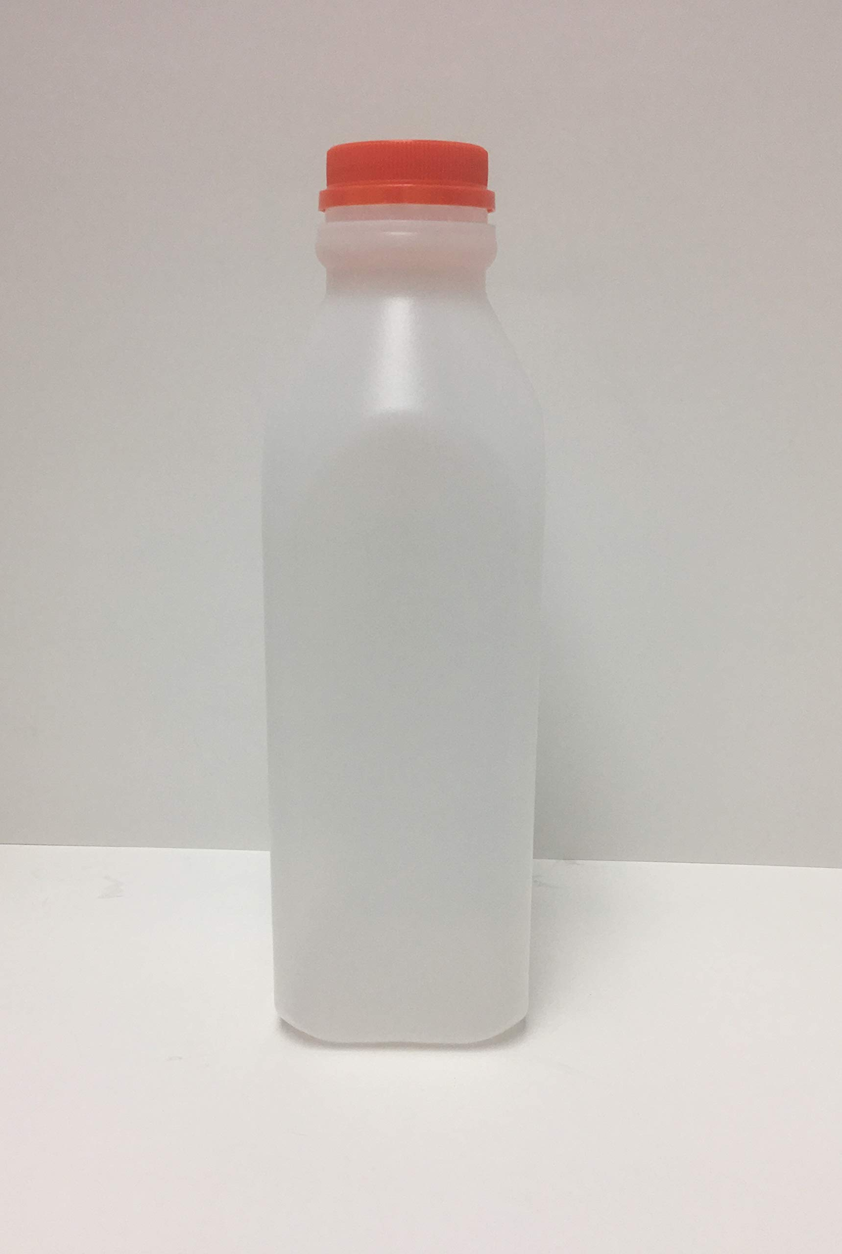 32oz Natural HDPE Plastic Beverage Juice/Dairy Containers with Tamper Evident Caps - Pack of 6 (6 Pack, Orange Caps)